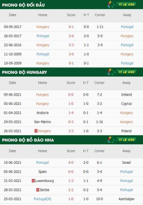 thông số trận đấu Hungary vs Bo Dao Nha